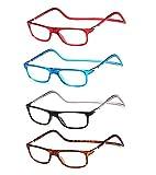 Pack 4 magnetische verstellbare und klappbare Brille mit Tragegurt, für die horizontale Sicht von Presbia, Dioptrien von +1,00 bis +3,50, Halterung für Paste, Scharniere Standard, Unisex +350 (925)