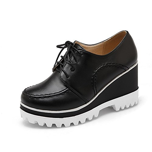 AllhqFashion Femme Couleur Unie Pu Cuir à Talon Haut Rond Lacet Chaussures Légeres Noir