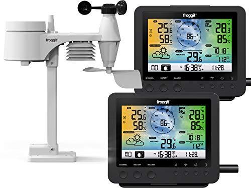 Froggit WH5500 Twin - Estación meteorológica inalámbrica Wi-Fi 2 Unidades