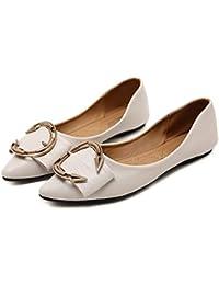 FLYRCX Scarpe basse piatte morbide con fondo morbido in pelle da donna, scarpe da lavoro, scarpe singole, 36…