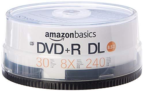 AmazonBasics - DVD+R-DL-Rohlinge, 8,5 GB, 8x, Spindel mit 30 Stück