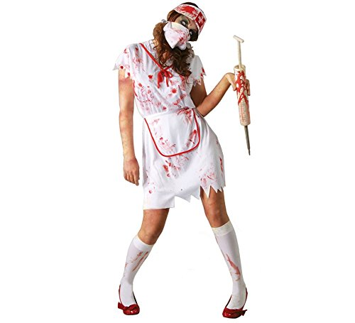 Krankenschwester Zombie Kostüm blutiges Halloween Zombiekostüm für Damen Gr. M-L, Größe:M (Blutige Krankenschwester Kostüm)