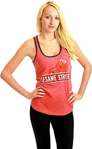 Sesame Street Elmo 123 rot Junior Tank Top Shirt (Junior Large)