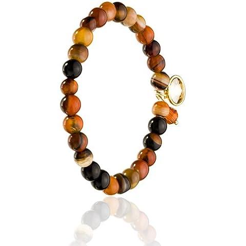 Tinti di perle agata, Tonal Reds, con zaffiro blu e Earth & topazio azzurro, con 2 cristalli Swarovski e ciondoli, braccialetto elastico con perline di qualità elevata - Tono Oro Charm Bracelet Bracciale