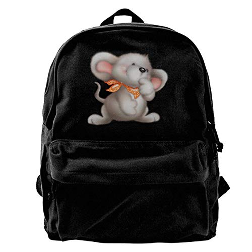 Vac Pro Teil (Rucksäcke, Daypacks,Taschen, Classic Canvas Backpack Glowing Beautiful Mouse Unique Print Style,Fits 14 Inch Laptop,Durable,Black)