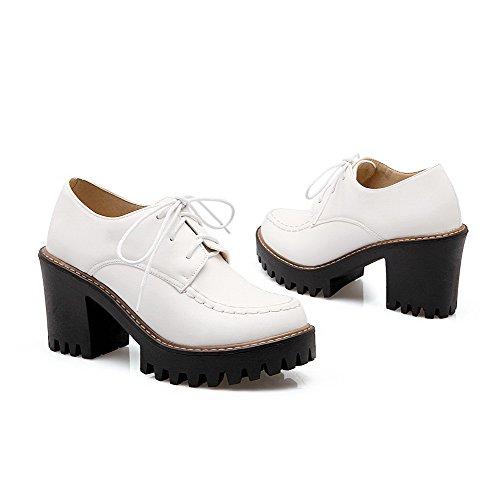 VogueZone009 Femme Couleur Unie Matière Souple Lacet Rond Chaussures Légeres Blanc