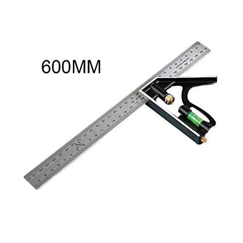 Busirde 300 mm / 600 mm Ajustable Combinación Plaza Regla ángulo 45/90 Grado gobernante Multifuncional ángulo Recto Medidor Universal de Herramientas de Medición 60x13cm