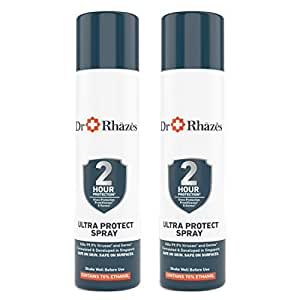 Dr Rhazes Ultra Protect Hand Sanitizer Spray with 2 hours Germ Protection for Hands and Surfaces, Pack of 2, 110ml each