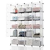 Koossy Transparentes Regalwürfel Regalschrank Aufbewahrung Stufenregal Bücherregal 20 Fächer für Arbeitszimmer und Kinderzimmer, 143 x 35 x 178 cm weiß