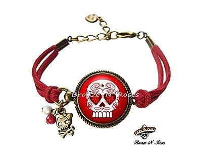 Bracelet * Mexican Skull * cabochon bronze tête de mort rouge