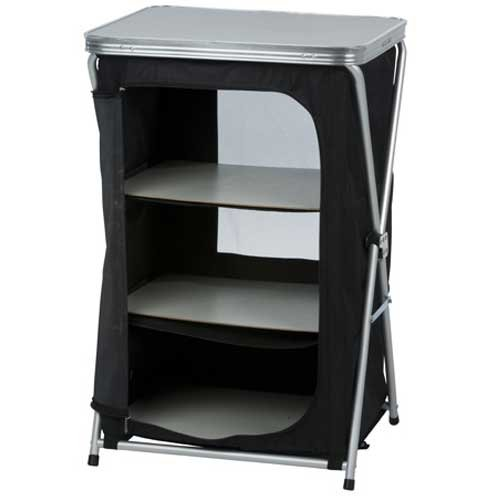 CAMP ACTIVE Foldable Camping Cabinet, Black, 56 x 48 x 86 cm