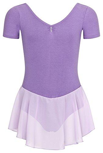 tanzmuster Kinder Kurzarm Ballettanzug Betty aus Baumwolle mit Glitzersteinen und Chiffon Röckchen in Lavendel, Größe:140/146