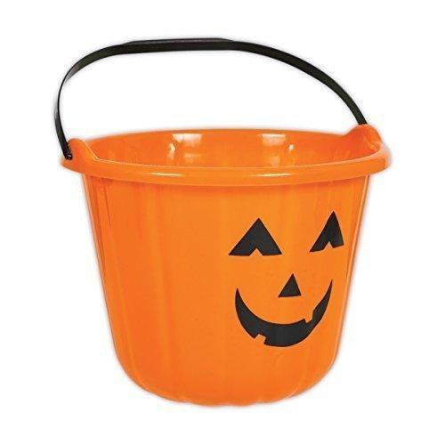 Amscan Orange Kürbis Halloween-Trick or Treat Eimer aus Kunststoff, 6 Stück