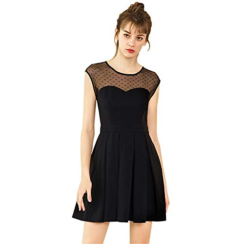 Damen Cocktailkleider Frauen Sommer Frühling Kleid Schatzausschnitt Ärmelloses Partykleid Cocktail Abendschaukel A-Line Kleid Plissee Prom Short Mini Dress Fit und Flare Dress Abend-Swing-Partykleid