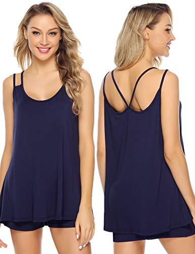 Aibrou Damen Modal einarbig Ärmellos Pyjama Set, Kurz Zweiteiliger Schlafanzug mit Träger Marineblau M (Damen Modal Pyjama-sets)