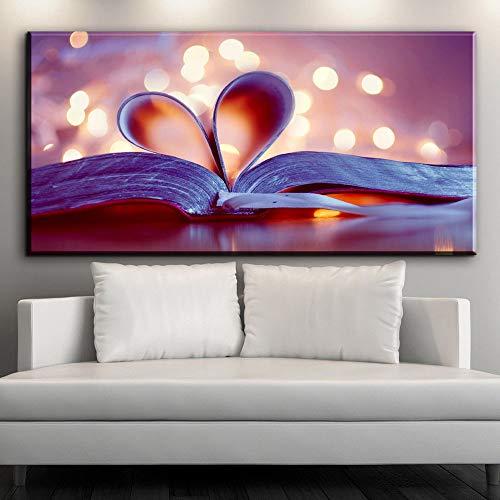 RTCKF Quadro Moderno Amore Libro Dipinto murale Arte Tela Stampa Artistica Decorazione della casa (Senza Cornice) A6 60x120 cm