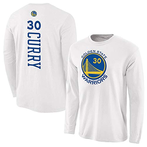 HS-QFQ Stephen Curry Golden State Warriors 30 New York Super Star Basketball Sweatshirt Lose Drucken Lange Ärmel Sport Und Freizeit,Weiß,M165~170CM