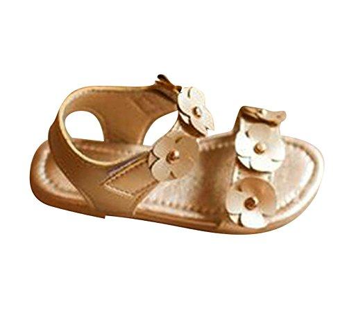 Juleya Scarpe da sandalo dei ragazzi del bambino delle ragazze di Roma Scarpe da sandalo antisdrucciolevole della principessa molle della principessa molle oro