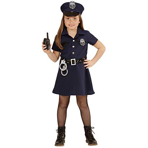 Polizist Mädchen Kostüm - Widmann 49087 - Kinderkostüm Polizistin, Kleid, Gürtel, Hut, Handschellen, Walkie-Talkie, Größe 140