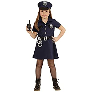 WIDMANN 49086?Disfraz para niños Agente de Policía, vestido, cinturón, sombrero, Esposas, de walkie talkie, tamaño 128