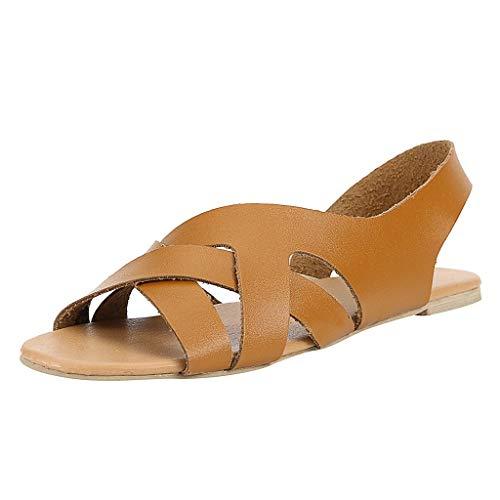 Damen Flats Gladiator Sandalen, Sommermode Design Sling Back Low Wedges Sandalen Peep Toe Slip on Summer Beach Schuhe Leder Rom Sandale Beach Slip On