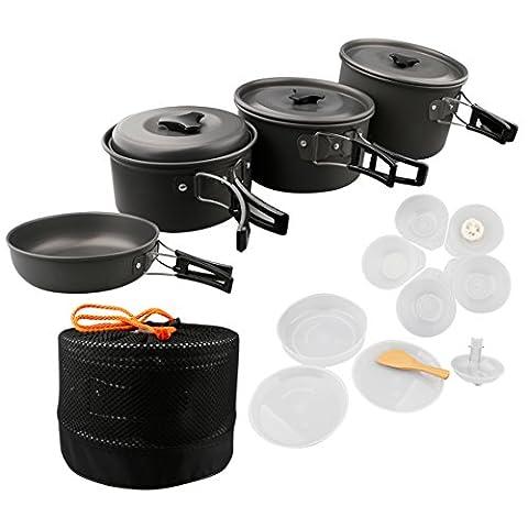 A-szcxtop Cuisine Portable Aluminium anodisé antiadhésif Pot Pan 16pcs Ensemble de cuisson pour extérieur pique-nique, (5 Pezzi Kit Mess Kit)