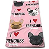 ewtretr Luxus Handtücher,I Love French Bulldogs Fabric Kitchen Towels - Dish Cloth - Machine Washable Cotton Kitchen Dishcloths,Dish/Tea Towels for Drying,Cooking,Baking (12 X 27.5 Inch)