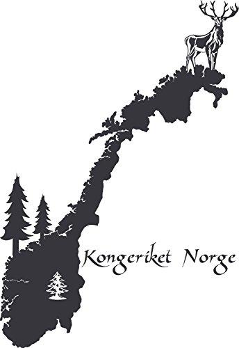 GRAZDesign Büro Einrichten mit Wandtattoo Norwegen Umriss - Wandfolie Elch - Wandtattoo Büro Erdkunde - Wanddeko Kongeriket Norge / 83x57cm / 073 dunkelgrau