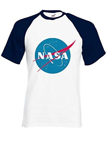 Nasa National Space Administration Logo Navy/White Men Women Unisex Shirt Sleeve Baseball T Shirt-M
