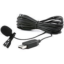 Movo M1 Micrófono de Solapa USB con Clip con Condensador Omnidireccional para Computadoras para PC y Mac (Cable de