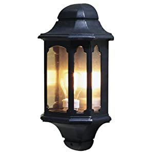 Konstsmide 7096-750 Basic Classic Style Flush Outdoor Wall Light/ 1 x 60 W E27 Max Wall Lamp/ Clear Glass Panels/ Aluminium/ IP23/ Outside Light Black