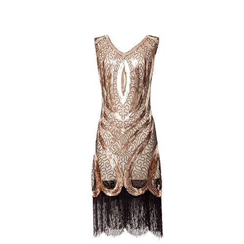 920er Jahre Sequenziert Franse Flapper Art Deco - Tolles Gatsby Abendkleid Vintage Flapper ärmellose Kleider Cocktail Kleid ()