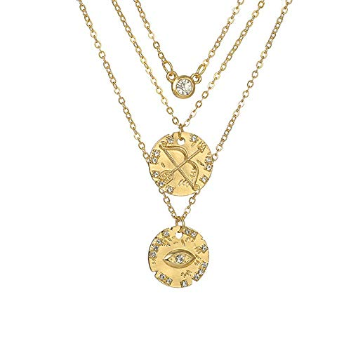 Damen Halskette,Mode Legierung Mehrschichtige Halskette, Einfache Und Kreative Runde Scheibe Mit Diamant Auge Pfeil Und Bogen Anhänger Halskette Dreischichtige Schlüsselbein Kette, Personalisierte K