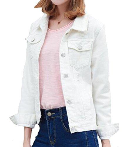 Gogofuture Jeans Cappotto Donna Giacca Outwear Camicia Soprabito Giacca Leggera Eleganti Puro Colore Simpatiche Comode White2