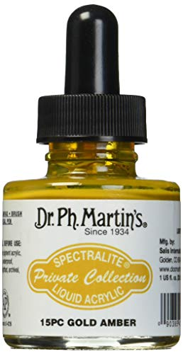 Dr Ph. Martin's Spectralite Private Collection Liquid Acrylics, 1.0 oz, Gold Amber (15PC)