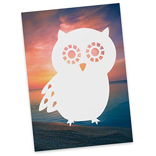Mr. & Mrs. Panda Postkarte Eule Seitenflügel - Eule, Owl, Wald, Wood, Nachtaktiv, Maus, Eulen Postkarte, Geschenkkarte, Grußkarte, Karte, Einladung, Ansichtskarte, Sprüche