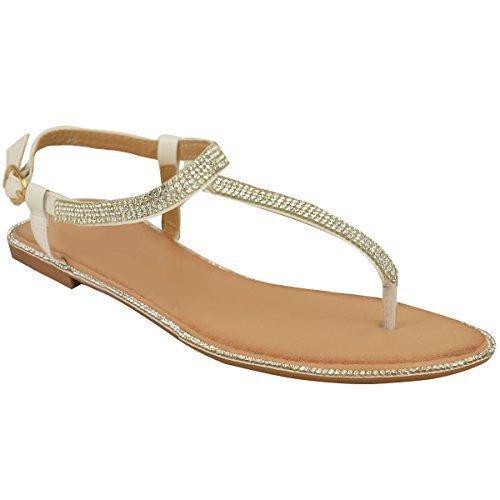 Neuf Pour Femmes Plats Entre-doigt Sandales Strass femmes Bride Cheville lanière en T Chaussures Pointure Blanc Verni