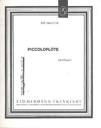 Grifftabelle für Piccoloflöte mit 6 Klappen