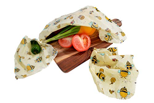 Set of 3 Beeswax Wraps Made of Cotton, Beeswax, Jojoba Oil, Tree Resin |  Food Wrap | Reusable Washable Biodegradable | Alternative to Cling Film,