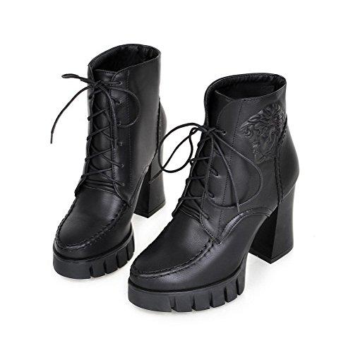 AllhqFashion Damen Blend-Materialien Rein Niedrig-Spitze Hoher Absatz Stiefel Schwarz