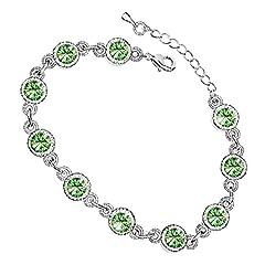 Idea Regalo - GWG® Braccialetto Donna Placcato Argento Sterling Catenella con Zirconi Verde Smeraldo Contornati da Pietre Trasparenti