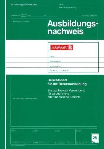 "Ausbildungsnachweis/Berichtsheft""BRUNNEN"" 28 Blatt / A4 (Berufsschule) grün"