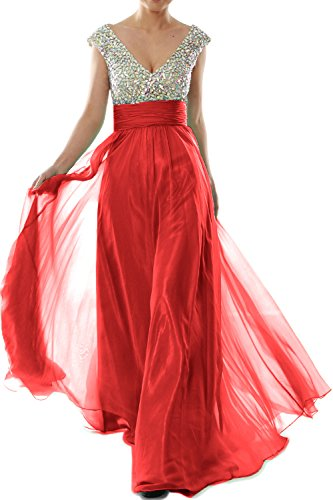 MACLoth Women Cap Sleeve V Neck Crystal Chiffon Long Prom Dress Evening Gown red
