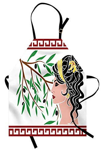 Toga Lustig Kostüm - ABAKUHAUS Toga-Party Kochschürze, Mythologische Aphrodite Profil und Olive Branch griechischen Grenzen Framework Print, Farbfest Höhenverstellbar Waschbar Klarer Digitaldruck, Mehrfarbig
