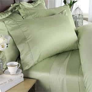 Percale - 600 fils au pouce en coton égyptien (non microfibres de Polyester) & Parure de lit avec housse de couette King et 2 couvre-oreillers, Californie, Sage