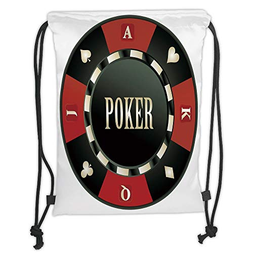 Drawstring Backpacks Bags,Poker Tournament,Casino Chip with Poker Word in Center Rich Icon Card Suits Decorative,Army Green Vermilion White Soft Satin,5 Liter Capacity,Adjustable S - Green Roof Center
