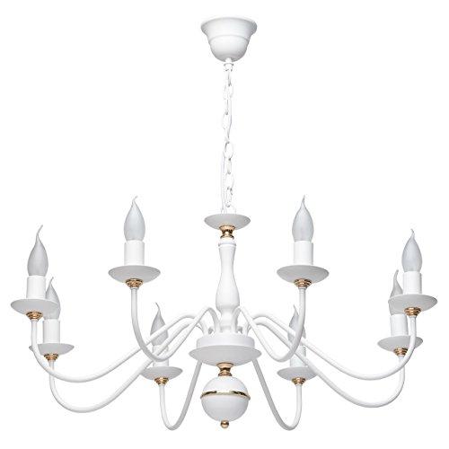 Lustre Chandelier Shabby Chic Design Moderne à 8 Lampes Bougies en Métal Blanc avec Déco Doré pour Salon Chambre Salle à Manger 8x60W E14