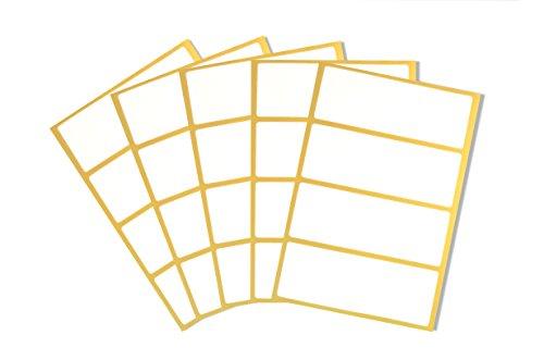 * 20 selbstklebende weiße Etiketten für Haushalt und Büro | Zum Beschriften von Heften, Einmachgläsern, Flaschen, Kartons | Aufkleber Sticker | 10 x 3,7 cm