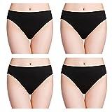 wirarpa Unterhose Damen 100% Baumwolle Midislip Breites Bein Unterwäsche 4er Pack Slips Schwarz 48 50 52