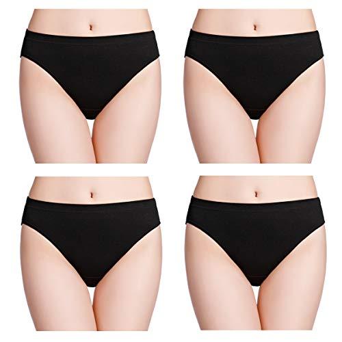 wirarpa Unterhose Damen 100% Baumwolle Midislip Breites Bein Unterwäsche 4er Pack Slips Schwarz 44 46